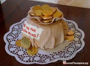 Шуточные подарки на юбилей женщине-мешок денег