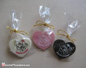 подарки гостям на свадьбе-шоколадные сердечки