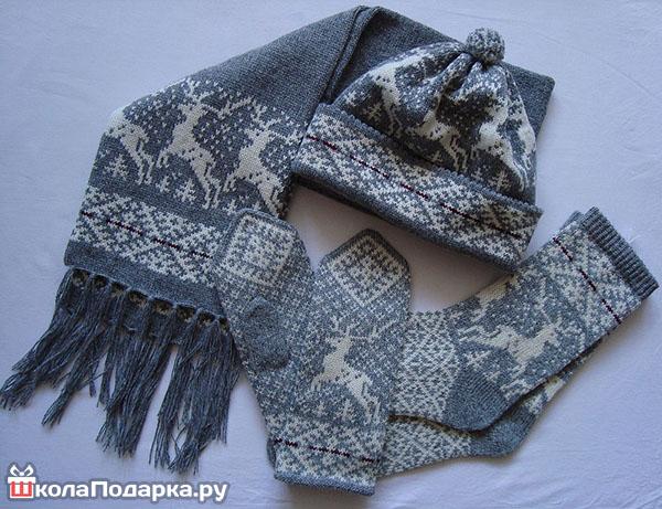 теплый вязанный набор (шарф, шапка, варежки)