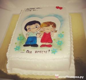 подарок девушке на год отношений-торт